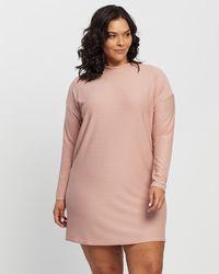 Missguided Curve Plus Spot High Neck Ls T Shirt Dress - Pink