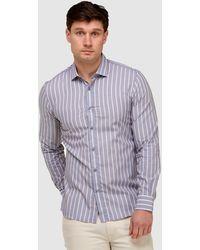 Brooksfield Vertical Stripe Slim Fit Dress Shirt - Blue