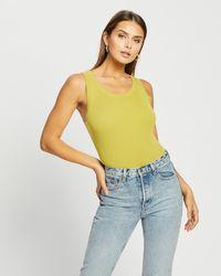 Glamorous Ribbed Knit Bodysuit - Green