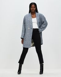 Mng Textured Wrap Coat - Blue