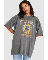 Neon Hart Sunset Oversized Drop Shoulder Tee Dress Vint. Char - Grey