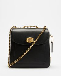 COACH Calf Leather Madison Backpack - Black