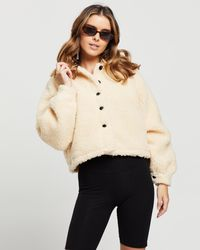 Missguided Petite Button Up Borg Jacket - Natural