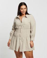 Missguided Curve Plus Shirred Panel Mini Shirt Dress - Natural