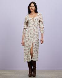 Missguided Floral Frill Shoulder Tie Maxi Dress - Multicolour