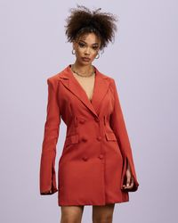 Missguided Belted Flare Sleeve Blazer Dress - Red