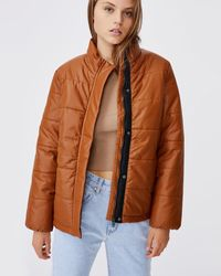 Cotton On Vegan Leather Puffer Jacket - Brown