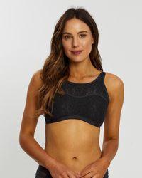 Aqua Blu Australia Luxe High Neck Bikini Top - Black