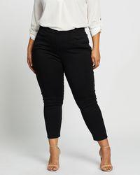 Atmos&Here Curvy Zeina Zip Front Pont Trousers - Black