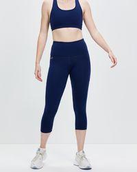 Brasilfit High Waisted Supplex Mid Calf leggings With Pockets - Blue