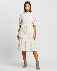 Glamorous Broderie Tiered Midi Dress - White