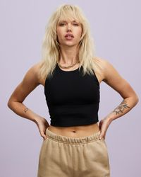 Champion Cropped Fitted Tank - Black