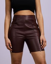 Missguided Faux Leather Cycle Shorts Co Ord - Brown