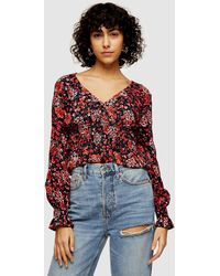 TOPSHOP Ruched Print Blouse - Red