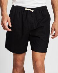 Rhythm Essential Linen Jam Shorts - Black