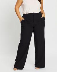 Atmos&Here Curvy Cindy Wide Leg Trousers - Black