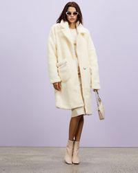 Missguided Cream Borg Teddy Zip Pocket Coat - White