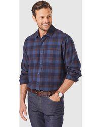 Gazman Brushed Twill Melange Check Shirt - Blue