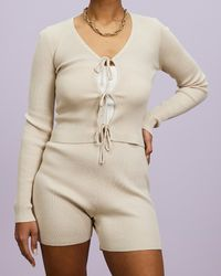 Missguided Tie Front Knitted Top Cycling Shorts - Natural