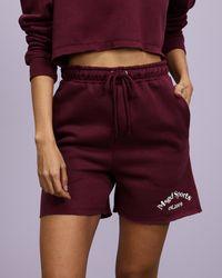 Missguided Sports Oversized Raw Hem Shorts - Purple