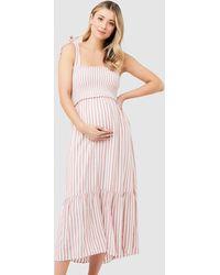 Ripe Maternity Ollie Smocked Dress - Orange
