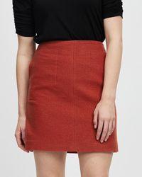 Marcs Sierra Felted Wool Mini Skirt - Red