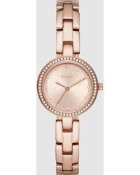 DKNY City Link Rose Gold Tone Analogue Watch Ny2826 - Pink