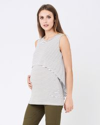 Ripe Maternity Stripe Swing Back Nursing Tank - White