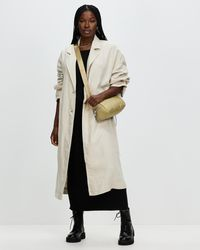 Mng Linen Trench Coat - Natural