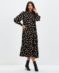 Glamorous Smocked High Neck Maxi Dress With Long Sleeves - Black