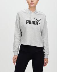 PUMA Essentials Logo Cropped Hoodie - Grey