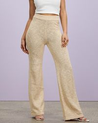 Missguided Co Ord Textured Knit Wide Leg Trousers - Natural