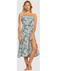 Roxy Marine Bloom Strappy Midi Dress - Blue