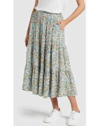 French Connection Tiered Button Through Skirt - Multicolour