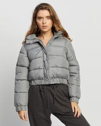 Missguided Petite Hooded Puffer Jacket - Grey