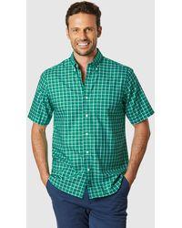 Gazman Easy Care Oxford Check Short Sleeve Shirt - Green