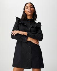 Cotton On Jade Woven Long Sleeve Ruffle Mini Shirt Dress - Black