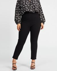 Atmos&Here Curvy Jenna Skinny Stretch Trousers - Black