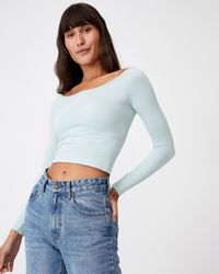 Cotton On Jaq Seamless Off The Shoulder Long Sleeve Top - Blue