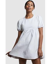 Cotton On Denim Open Back Babydoll Mini Dress - White