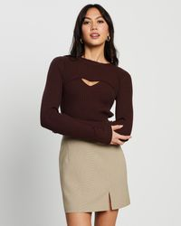 4th & Reckless Alana Double Layer Knit Top - Brown