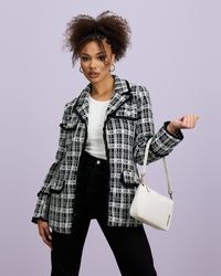 Missguided Co Ord Boucle Open Longline Blazer - Black