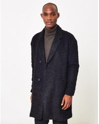 The Idle Man - Wool Blend Textured Overcoat Black - Lyst