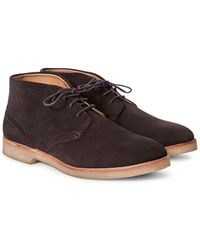 Hudson Jeans - Hatchard Suede Lace Up Shoes Dark Brown - Lyst