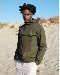 The Idle Man - Two Colour Overhead Anorak Green - Lyst