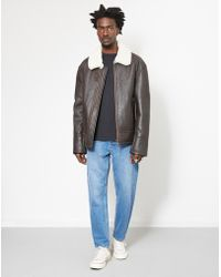 The Idle Man - Shearling Flight Jacket Brown - Lyst