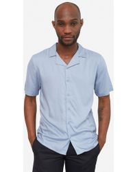 The Idle Man - Revere Collar Shirt Blue - Lyst