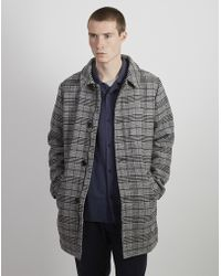 The Idle Man - Checked Wool Overcoat Grey - Lyst