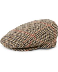 The Idle Man - Wool Blend Check Flat Cap Brown & Green - Lyst