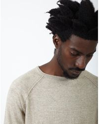 The Idle Man - Raglan Crew Neck Knitted Jumper Off White - Lyst